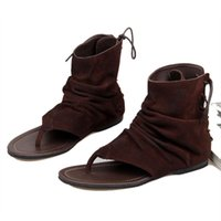 Wholesale Coffee Color Shoe Man - Summer Leather Roman Sandals Men's Beach Shoes Fashion Casual Sandals Open-toes Lace-up Black and Deep Coffee Color