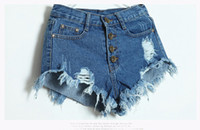 Wholesale Button Holes - High Waisted Denim Shorts Women New 2016 Fashion Summer Hole Tassel Ladies Hot Sexy Mini Short Jeans Feminino Black Blue White