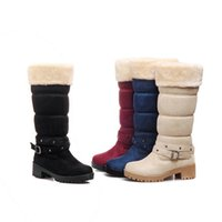 Wholesale lovely leather black boots for sale - winter warm woman fashion boots Mid Calf Buckle Cozy Square heel women Slip On Lovely Snow Boots plus size