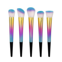 Wholesale Super Taper - Tapered Handle Makeup Brushes 5pcs set Dazzle Color Super Soft Fan Cosmetic Make Up Foundation Eyeshadow Lip Makup Brush Tool Kit