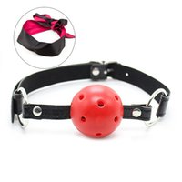 BDSM Erotico BDSM da principiante Bondage Breathable Leather Ball Gag + Maschera Occhiata di Sole Blindfold