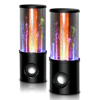 mini dançando fonte venda por atacado-Nova Dança Água Orador Música de Áudio 3.5 MM LEVOU 2 em 1 USB mini Colorido de Água-gota Mostrar fonte subwoofer para PC tablets PSP telefones