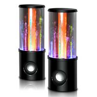 su dansı çeşmesi hoparlörü toptan satış-Yeni Dans Su Hoparlör Müzik Ses 3.5 MM Oynatıcı LED 2 in 1 USB mini Renkli PC Tablet PSP telefonları için Su-bırak Gösterisi Çeşmesi subwoofer