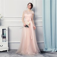Wholesale Event Designer Dress - Bridesmaid Dresses Long 2017 New Designer Tulle Lace Garden Wedding Event Vestido Madrinha Pearl Pink Brides Maid Dress