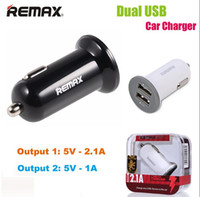 Wholesale Usb Adaptor Tablet - REMAX Full 2.1A 2 USB Fast Car Chargers Adaptor For IPhone 7 Plus Charger Samsung Galaxy IPad Tablet IPod With Retail Package