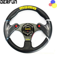 Wholesale Momo Carbon Steering Wheel - NEW 32cm Black MOMO leather steering wheel and carbon fibre wheel automobile race modified PQY - SW41