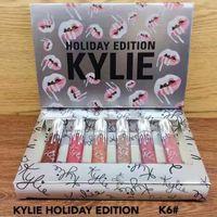 Wholesale K6 Kit - 2017 NEW Silver Kylie holiday 6pcs set lipgloss Cosmetics Matte Lipstick Lip gloss Mini Kit Lip holiday Edition k6 vixen lipstick DHL free