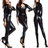 Wholesale Sexy Clubwear Apparel - New Arrival Women Exotic Apparel Gothic Sexy Black Leatherette Jumpsuit Buckle Neck Fetish Clubwear Pole Dancing Costume S-5XL