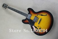 Wholesale Es Semi Hollow - Wholesale- ES - 335 - semi hollow electric guitar left hand For left-handed people, sunset yellow Free Shipping