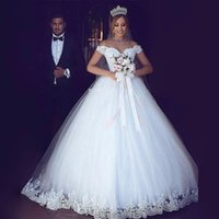 Wholesale bridal dress cover ups - 2017 White Off the Shoulder Wedding Dresses Ball Gown Illusion Neckline Bridal Gowns Tulle Lace up Back Custom Made
