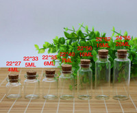Wholesale Wholesale 3ml Wish Bottles - 3ml 4ml 5ml 7ml 10ml 12ml 15ml Wish Bottles Tiny Small Empty Clear Cork Glass Bottles Vials For Wedding Holiday Decoration Christmas Gifts