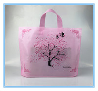 Wholesale christmas tree plastic bags - 50pcs pink lucky tree romantic wedding use lady clothes comestic plastic bag thicken Bags Large shopping Bag High Quality