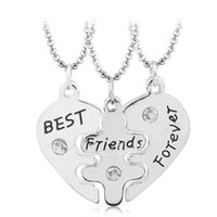 ingrosso colar migliore amico-Collana Collier Baff Statement Lovers 3 pz. Best Friends Forever Collane Colar Friendship Heart Charm Pendent Gift for Girls