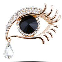 Wholesale Eye Pins For Jewelry - Wholesale- Elegant Women Rhinestone Crystal Big Eye Brooches for Wedding Party Ladies Waterdrop Angel Tears Brooches Pins for Women Jewelry