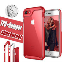 Wholesale Chinese Wholesale Luxury - Transparent Luxury 2 in 1 Armor Shockproof Clear TPU + PC Frame Case Hybrid Protective Back Cover Case For iPhone 7 8 Plus 6 6S iPhone8