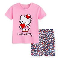 baby schöne pyjamas groihandel-Reizende Sportkinderpyjamas stellten Mädchen Kurzhülse Sommer Sleepwearkleidung Baby reizende Pyjamaklage ein Freies Verschiffen SP17