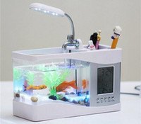 Wholesale Usb Tank Aquarium - Multifunctional Mini USB LCD Desktop Lamp Light Recirculation Fish Tank Aquarium LED Small Fish tank with Running water free shipping