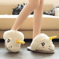 Wholesale Cute Warm Ups - Winter Warm Indoor Slippers Cute Cartoon Plush Unicorn Slippers for Grown Ups White Black Unisex Home Slippers