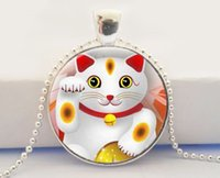 Wholesale Vintage Lucky Cats - Maneki Neko Art Pendant,Lucky Cat Charm Necklace Glass Dome Necklace Vintage