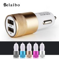 Barato Carregador De Porta Usb China-Atacado- 2016Fashion USB Universal Car Charger 12v 24v 2.1A 1.0A Alumínio dual usb2-port Adaptador para telefone normal China entrega postal