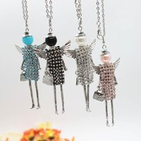 Wholesale Dolls Necklace - New Fashion French Kids stones doll Pendant Necklace Jewelry Angel Wings Pendant women long necklace wholesales free shipping