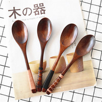 Wholesale Wholesale Products Korea - New Product Nanmu Wooden Spoons Wrapped Yarn 20*4cm Japanese Korea Style Tableware Free Shipping MOQ:20 Piece