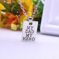 Wholesale Vintage Strand Gold Necklace - 1pcs Vintage My Dad My Hero charm Necklace Family Party Choker Retro Pendant Fashion Father Dady Men Jewelry Gifts