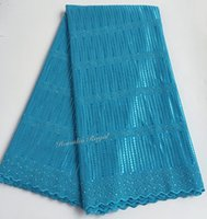 Wholesale super african cotton fabric resale online - Turquoise blue yards Real Swiss lace very soft African lace fabric silk mix cotton Super Soft unique and top quality