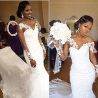 Wholesale Detailed Formal Dresses - Rich South African Church Robes Sheer Wedding Dresses Long 2018 Long Sleeves Lace Mermaid Custom Made Appliques Bridal Gowns Formal