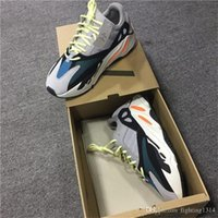 Wholesale Wholesale Chalk - With original box 2017 Kanye West Wave Runner 700 Running Shoes 700 Boost Solid Grey Chalk White Core Black Fashion Sports Sneaker 5-12