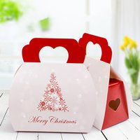 Wholesale Christmas Cupcake Gift Boxes - Merry Christmas White Snowflake Christmas Tree Cupcake Paper Boxes Cookie Gift Packaging Christmas Cupcake Packaging 10Pcs lot