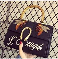 Wholesale Lighting Head Bag - Famous designer brand bags women Embroidered bee letter handbags vintage ShoulderBag Woman Messenger Bag Double snake head Tote