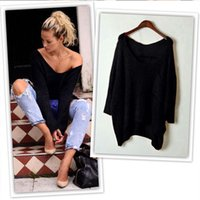 Wholesale Wholesale Off Shoulder Tees - Wholesale-Sexy Women's Off Shoulder Knitted Oversize Baggy Sweater Long Sleeve Jumper Tops 5 Colors S M L XL T-shirt Tees