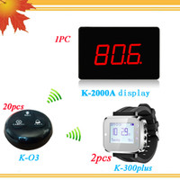 Restaurante Wireless Call Bell System 20PCS Waterproof Call Button e 2PCS Wrist Watch Pager 1PC Guest Paging System Display