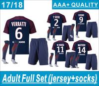 Wholesale Short Sets - NEYMAR JR Adult Full Set (set+socks) VERRATTI home and away Soocer Jersey Maglie Calcio T.SILVA DI MARIA Soccer kits 17 18 AAA+ thai quality