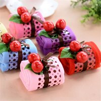 Wholesale Cherry Cotton Cake Towel - Wholesale- 1 PCS New Creative Cute Baby Child Children Gift Box Cherry Cake Towel Cotton Wedding Microfiber Towel Water Absorbing