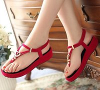 Wholesale Korean Red Black Sandal - 2017 Summer New Korean Muffin Women Sandals Wedges Thick Crust Slope with High-heeled Shoes Fashion Roman Sandals Flat Shoes Tide