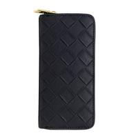 Wholesale Double Zipped Purses - Wholesale- 2017 Fashion Women Plaid Long Double Zip Clutch Weave Design Leather Wallet Purse Coin Card Bag High Quality 3 Colors