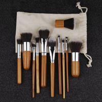 Wholesale Bamboo Drawings - Makeup Brushes Set Cosmetics Maquiagem Profissional 11 Pcs High Quality Bamboo Cosmetic Brushes Kit Brush Sets With Draw String Bag 160923