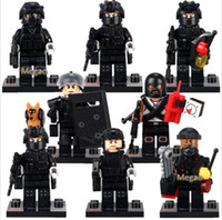 Plastics block medical - Military Figures Falcon Commandos Terrorist Assassination Charge Captain Medical Staff Building Blocks Kids Gift Toys SWAT Boy s Toy army