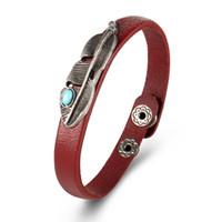 ingrosso vendita di gioielli fatti a mano-HZS vendita calda punk stile retrò turchese pelle piuma braccialetto di alta qualità delicato gioielli fatti a mano regalo unisex spedizione gratuita