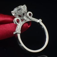 Wholesale Sterling Silver Ring Quartz - 925 sterling silver wedding rings jewelry big round CZ love ring for women hollow crown bague femme anillos