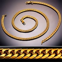 Wholesale 18k White Gold 6mm Chain - U7 6MM New Chunky HipHop Gold Chain Necklace Bracelet Men Jewelry 18K Gold Black Gun Plated Stainless Steel African Ethiopian Jewelry Set