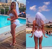 Wholesale Net Ribbon Yarn - 2017 Wedding Bikini Veils Two Pieces Headpiece And Booty Veils Bachelorette Party Veils Bachelorette Party Set Hen Party