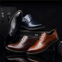 Wholesale Dresses Size 13 - 2017 Big size New 100% Genuine Leather Mens Dress Shoes High Quality Oxford Shoes For Men Lace-Up Business Brand Men Wedding Shoes US 6.5-13