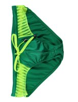 Wholesale Mens Bathing Shorts - Wangjiang Men Swimming Brief Shorts Mens Sexy Swim Briefs Nylon Mesh Swimwear Men Swimsuit Beachwear Rope Style Splice Bathing S M L XL