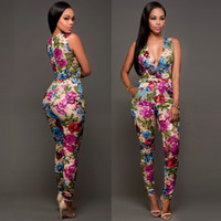 Wholesale Cheap Jumpsuits For Women - Rompers womens jumpsuit 2017 New Autumn Sexy women cheap Rompers Deep V Neck Printing Hollow Out Romper for women Nightclub