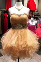 Wholesale Strapless Ball Dresses Prom - Ball Gown Champagne Short Prom Dresses 2017 Ruffles Crystal Beading Sequins Strapless Open Back Lace-up Party Homecoming Dress For Sweet 16
