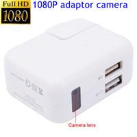 caméra portuaire achat en gros de-Vente en gros 1080P Mini caméra intérieure USB chargeur mural Cam Nanny Cam avec adaptateur de détection de mouvement