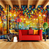 Wholesale Oil Painting Asia - Large 3D Wallpapers mural Abstract Modern Wall Painting Rain Tree Road Palette Knife Oil Painting Canvas Wall Home Decor Decorat